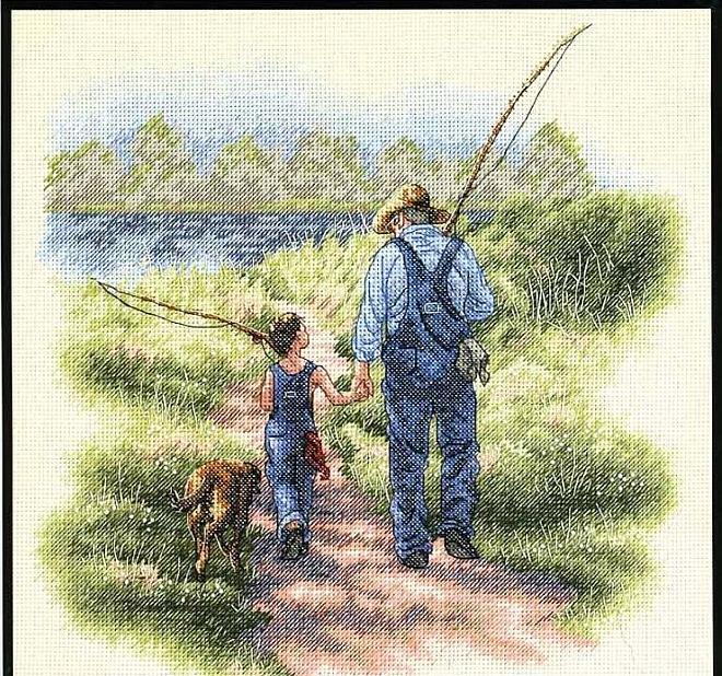 Вышитая картина рыбак